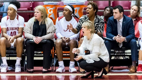 Alabama coach Kristy Curry yells during the team's NCAA college basketball game against South Carolina on Thursday, Feb. 8, 2018, at Coleman Coliseum in Tuscaloosa, Ala. (Vasha Hunt/AL.com via AP)