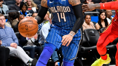 ORLANDO, FL - FEBRUARY 8: D.J. Augustin #14 of the Orlando Magic handles the ball against the Atlanta Hawks on February 8, 2018 at Amway Center in Orlando, Florida. (Photo by Fernando Medina/NBAE via Getty Images)