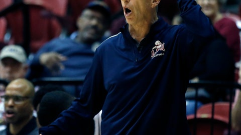 Loyola Marymount head coach Mike Dunlap reacts during the first half of an NCAA college basketball game against Saint Mary's in Los Angeles, Thursday, Feb. 8, 2018. (AP Photo/Alex Gallardo)