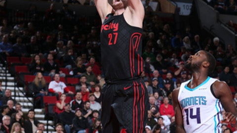 PORTLAND, OR - FEBRUARY 8: Jusuf Nurkic #27 of the Portland Trail Blazers shoots the ball against the Charlotte Hornets on February 8, 2018 at the Moda Center in Portland, Oregon. (Photo by Sam Forencich/NBAE via Getty Images)