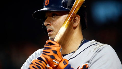 FILE - In this Aug. 4, 2017, file photo, Detroit Tigers' Victor Martinez prepares for an at-bat during a baseball game against the Baltimore Orioles in Baltimore. Martinez is entering the final season of his contract, so this could be the end of a distinguished run in Detroit for the steady designated hitter.  (AP Photo/Patrick Semansky, File)