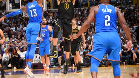 LOS ANGELES CA- FEBRUARY 8 Kyle Kuzma #0 of the Los Angeles Lakers shoots the ball during the game against the Oklahoma City Thunder