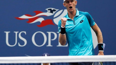 FILE - In this Sept. 10, 2017, file photo, Kevin Anderson, of South Africa, reacts after scoring a point against Rafael Nadal, of Spain, during the men's singles final of the U.S. Open tennis tournament in New York. New York no longer has to wait for the U.S. Open for top-level tennis. The New York Open debuts next week at Nassau Coliseum, a new home for a tournament that has attracted many of the best American mens players and hopes it can someday get the best in the world.(AP Photo/Andres Kudacki, File)