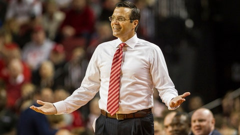 FILE - In this Dec. 16, 2017, file photo, Nebraska head coach Tim Miles reacts to a referee call in the game against Kansas during the first half of an NCAA college basketball game in Lincoln, Neb. The Nebraska mens basketball team plans to take a public stand Saturday against the views of a university student who described himself as a white nationalist in a widely distributed online video. Coach Tim Miles said Friday, Feb. 9, 2018, that the team will wear T-shirts reading Hate Never Wins at the home game against Rutgers. (AP Photo/John Peterson, File)