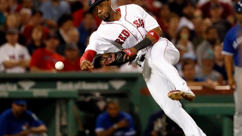 FILE - In this Sept. 5, 2017, file photo, Boston Red Sox third baseman Eduardo Nunez throws out Toronto Blue Jays' Jose Bautista during the eighth inning of a baseball game, at Fenway Park in Boston. In a historically slow market, players and management are feuding publicly about riches and rules, and teams seemingly are seeking bargains like shoppers awaiting a closeout.  Job-seekers include pitchers Alex Cobb and Lance Lynn; reliever Greg Holland; infielder Eduardo Nunez; outfielders Carlos Gomez and Carlos Gonzalez; and catcher Jonathan Lucroy. (AP Photo/Winslow Townson, File)