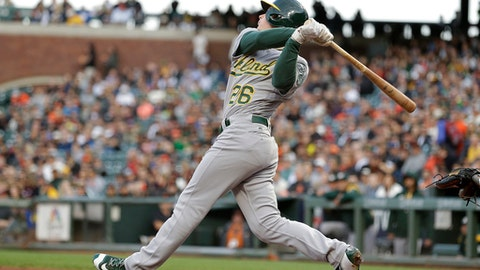 FILE - In this Aug. 2, 2017, file photo, Oakland Athletics' Matt Chapman watches his RBI double off San Francisco Giants starting pitcher Matt Moore duirng the second inning of a baseball game, in San Francisco. Khris Davis will be the offensive centerpiece with power-hitting outfielders Matt Chapman and Matt Olson surrounding him. (AP Photo/Eric Risberg, File)