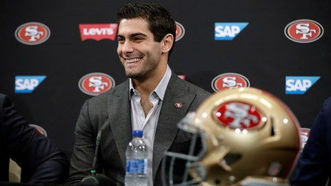 San Francisco 49ers quarterback Jimmy Garoppolo smiles during an NFL football press conference Friday, Feb. 9, 2018, in Santa Clara, Calif. Garoppolo has signed a five-year contract with the 49ers worth a record-breaking $137.5 million. (AP Photo/Marcio Jose Sanchez)