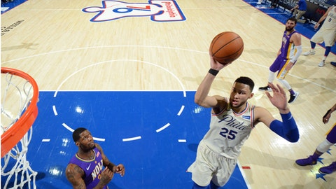 PHILADELPHIA,PA - FEBRUARY 9 : Ben Simmons #25 of the Philadelphia 76ers goes up for the shot against the New Orleans Pelicans at Wells Fargo Center on February 9, 2018 in Philadelphia, Pennsylvania (Photo by Jesse D. Garrabrant/NBAE via Getty Images)