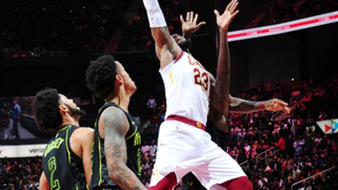 ATLANTA, GA - FEBRUARY 9: LeBron James #23 of the Cleveland Cavaliers rebounds the ball during the game against the Atlanta Hawks on February 9, 2018 at Philips Arena in Atlanta, Georgia.  (Photo by Scott Cunningham/NBAE via Getty Images)
