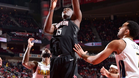 HOUSTON, TX - FEBRUARY 9: Clint Capela #15 of the Houston Rockets shoots the ball during the game against the Denver Nuggets  on February 9, 2018 at the Toyota Center in Houston, Texas. (Photo by Bill Baptist/NBAE via Getty Images)