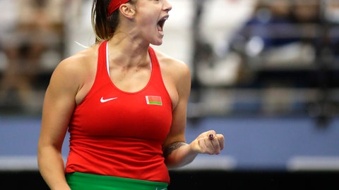 Aryna Sabalenka of Belarus celebrates winning a point against Tatjana Maria of Germany during the Fed Cup World Group first round match between Belarus and Germany in Minsk, Belarus, Saturday, Feb. 10, 2018. (AP Photo/Sergei Grits)