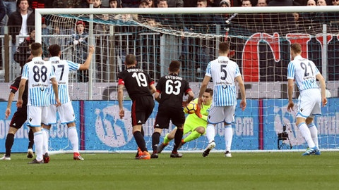 AC Milan's Patrick Cutrone scores his side's opening goal during the Serie A soccer match between Spal and AC Milan at the Paolo Mazza Stadium in Ferrara,Italy, Saturday, Feb. 10, 2018. (Serena Campanini/ANSA via AP)