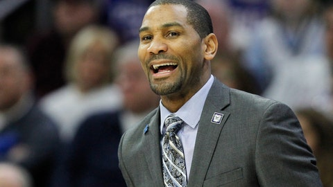 Butler head coach LaVall Jordan shouts from the sideline during the first half of an NCAA college basketball game against Villanova, Saturday, Feb. 10, 2018, in Philadelphia. (AP Photo/Laurence Kesterson)