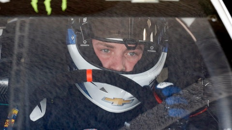 Alex Bowman prepares to go out on the track during a NASCAR auto racing practice session at Daytona International Speedway, Saturday, Feb. 10, 2018, in Daytona Beach, Fla. (AP Photo/Terry Renna)