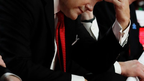 Georgia head coach Mark Fox sits on the bench in the final moments of the Bulldog's 78-61 loss to Auburn in an NCAA college basketball game, Saturday, Feb. 10, 2018, in Athens, Ga. (AP Photo/John Bazemore)