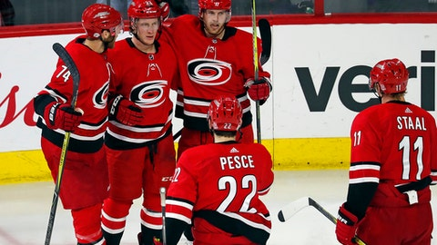 Carolina Hurricanes' Brock McGinn (23) celebrates his goal with teammate Jaccob Slavin (74), Elias Lindholm (28), Brett Pesce (22), Jordan Staal (11) during the third period of an NHL hockey game against the Colorado Avalanche, Saturday, Feb. 10, 2018, in Raleigh, N.C. (AP Photo/Karl B DeBlaker)