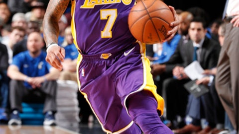 DALLAS, TX - FEBRUARY 10: Isaiah Thomas #7 of the Los Angeles Lakers handles the ball against the Dallas Mavericks on February 10, 2018 at the American Airlines Center in Dallas, Texas. (Photo by Danny Bollinger/NBAE via Getty Images)