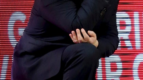 Arizona coach Sean Miller watches his team play Southern California during the first half of an NCAA college basketball game Saturday, Feb. 10, 2018, in Tucson, Ariz. (Kelly Presnell/Arizona Daily Star via AP)