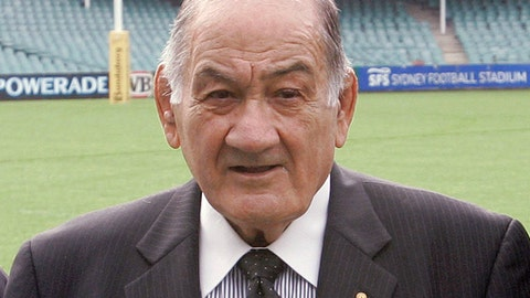 FILE - In this June 4, 2009, file photo, Sir Nicholas Shehadie poses for a photo in Sydney. Shehadie, a former Wallabies captain who was one of the architects of the first Rugby World Cup, died on Sunday, Feb. 11, 2018, aged 92. (AP Photo/Rob Griffith, File)