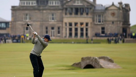 FILE - In this Monday, July 20, 2015, file photo, United States' Jordan Spieth drives from the 18th tee during the final round at the British Open Golf Championship at the Old Course, St. Andrews, Scotland. First-timers have won the last seven majors. The British Open starts July 20, 2017, and Royal Birkdale has a history or rewarding players who already have won majors. (AP Photo/Peter Morrison, File)