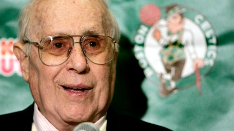 Boston Celtics president Red Auerbach talks with reporters prior to the season opener against the New York Knicks in Boston, Wednesday Nov. 2, 2005. (AP Photo/Charles Krupa)
