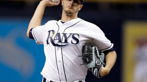 FILE - In this June 19, 2017, file photo, Tampa Bay Rays starting pitcher Jake Odorizzi delivers to the Cincinnati Reds during the first inning of a baseball game in St. Petersburg, Fla. Odorizzi, who turns 28 next month, asked arbitrators Dennis Archer, Phillip LaPorte and Matt Goldberg on Monday, Feb. 12, 2018, for a raise from $4.1 million to $6.3 million. The Rays argued during hearing that he should be paid $6.05 million. (AP Photo/Chris O'Meara, File)