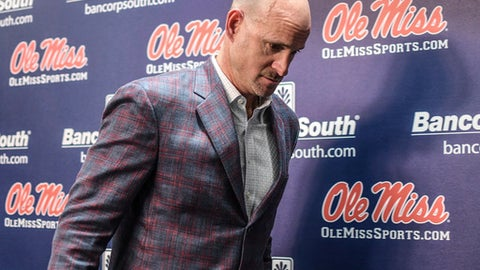 Mississippi head coach Andy Kennedy leaves a press conference at the Pavilion at Ole Miss in Oxford, Miss. on Monday, Feb. 12, 2018. Kennedy, in his 12th season as Mississippi head coach, announced he would not return as coach following this season.(Bruce Newman, Oxford Eagle via AP)
