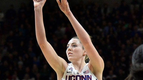 Connecticut's Katie Lou Samuelson (33) puts up two of her 19 first half points in the first half of an NCAA college basketball game Monday, Feb. 12, 2018, in Storrs, Conn. (AP Photo/Stephen Dunn)