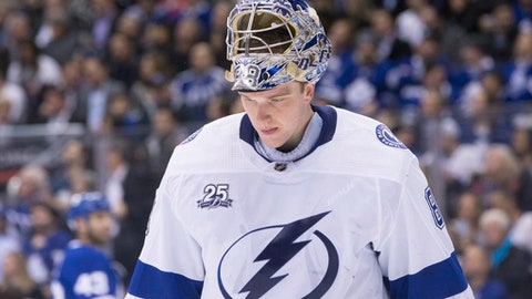 Tampa Bay Lightning goaltender Andrei Vasilevskiy (88) looks on during a break in play during second-period NHL hockey game action against the Toronto Maple Leafs in Toronto, Monday, Feb. 12, 2018. (Chris Young/The Canadian Press via AP)