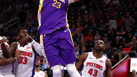 DETROIT, MI - FEBRUARY 12: Anthony Davis #23 of the New Orleans Pelicans dunks in front of Anthony Tolliver #43 of the Detroit Pistons during the first half at Little Caesars Arena on February 12, 2018 in Detroit, Michigan. (Photo by Gregory Shamus/Getty Images)