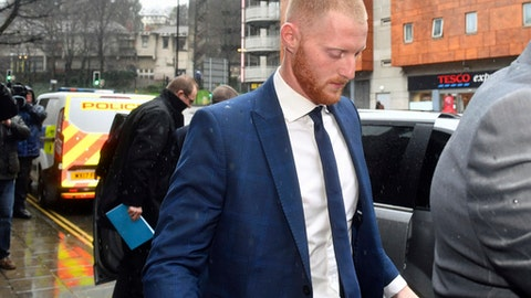 England  cricketer Ben Stokes, 26, arrives at Bristol Magistrates' Court in Bristol England, Tuesday Feb. 13, 2018, where, along with two other men, is accused of affray following an incident outside a nightclub in Bristol in September last year. (Ben Birchall/PA via AP)