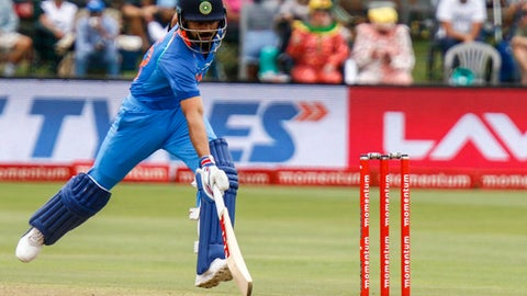 India's Virat Kohli makes a run during the fourth ODI cricket match between South Africa and India in Port Elizabeth, South Africa Tuesday, Feb. 13, 2018. (AP Photo/Michael Sheehan)