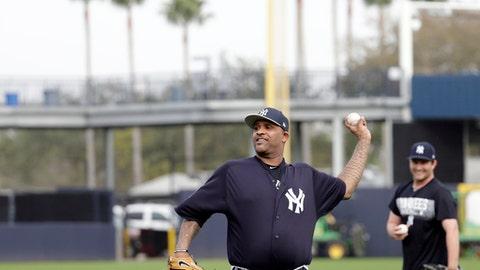 New York Yankees starting pitcher CC Sabathia throws during baseball spring training, Tuesday, Feb. 13, 2018, in Tampa, Fla. (AP Photo/Lynne Sladky)