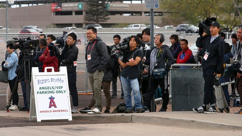 Members of the media await the arrival of Los Angeles Angels baseball player Shohei Ohtani at Tempe Diablo Stadium on Tuesday, Feb. 13, 2018, in Tempe, Ariz. (AP Photo/Ben Margot)