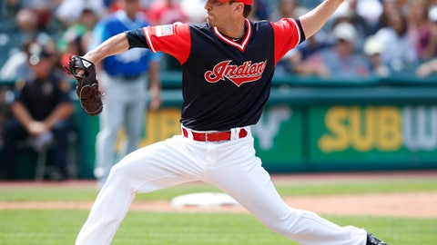 FILE - In this Aug. 27, 2017, file photo, Cleveland Indians' Craig Breslow delivers against the Kansas City Royals during the eighth inning in a baseball game in Cleveland. Left-hander Craig Breslow has agreed to a minor league contract with the Toronto Blue Jays and will attend major league spring training. Toronto announced the agreement Monday, Feb. 12, 2018. (AP Photo/Ron Schwane, File)