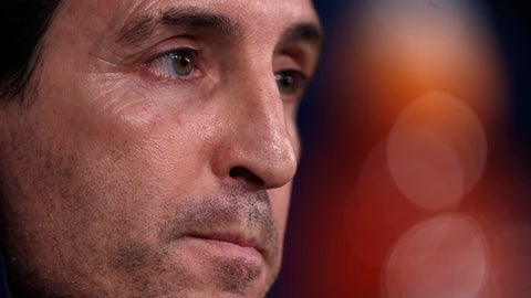 PSG's head coach Unai Emery listens to a question during a news conference at the Santiago Bernabeu stadium in Madrid, Tuesday, Feb. 13, 2018. Paris Saint Germain will play Real Madrid on Wednesday 14 in a Champions League Round of 16 first leg soccer match. (AP Photo/Francisco Seco)