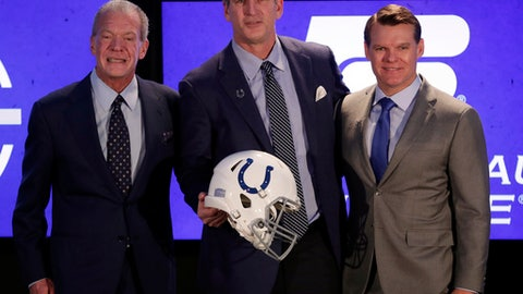 Indianapolis Colts head coach Frank Reich, center, poses with owner Jim Irsay, left, and general manager Chris Ballard after he was introduced at the team's new had football coach during a press conference in Indianapolis, Tuesday, Feb. 13, 2018. (AP Photo/Michael Conroy)
