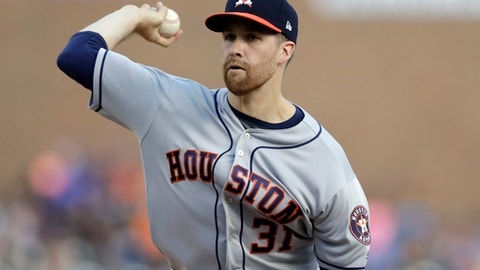 FILE - In this Saturday, July 29, 2017 file photo, Houston Astros starting pitcher Collin McHugh throws during the first inning of a baseball game against the Detroit Tigers in Detroit. Collin McHugh became the second pitcher on the World Series Houston Astros to go to salary arbitration, asking for a raise from $3.85 million to $5 million. Houston argued for a $4.55 million salary in a hearing, Tuesday, Feb. 13, 2018 before Mark Burstein, Jeanne Wood and Allen Ponak. (AP Photo/Carlos Osorio, File)