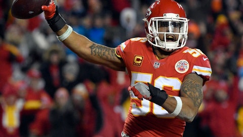FILE - In this Saturday, Jan. 6, 2018, file photo, Kansas City Chiefs linebacker Derrick Johnson (56) celebrates what he thought was a touchdown on a Tennessee Titans fumble during the second half of an NFL wild-card playoff football game in Kansas City, Mo. Derrick Johnsons tenure with the Kansas City Chiefs is coming to an end. The franchises career tackles leader and a four-time Pro Bowl selection, Johnson will become a free agent when his contract expires at the start of the new league year March 14, 2018. (AP Photo/Ed Zurga, File)
