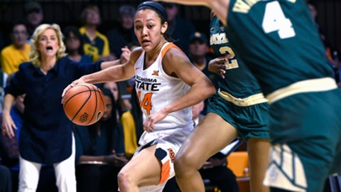 Oklahoma State guard Braxtin Miller, left, drives the ball past Baylor guards Didi Richards, center, and Kristy Wallace during the first half of an NCAA college basketball game in Stillwater, Okla., Tuesday, Feb. 13, 2018. (AP Photo/Brody Schmidt)