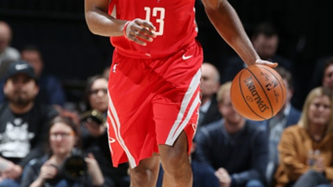 MINNEAPOLIS, MN -  FEBRUARY 13: James Harden #13 of the Houston Rockets handles the ball against the Minnesota Timberwolves on February 13, 2018 at Target Center in Minneapolis, Minnesota. (Photo by David Sherman/NBAE via Getty Images)