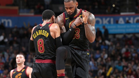 OKLAHOMA CITY, OK - FEBRUARY 13: Jordan Clarkson #8 and LeBron James #23 of the Cleveland Cavaliers celebrate during the game against the Oklahoma City Thunder on February 13, 2018 at Chesapeake Energy Arena in Oklahoma City, Oklahoma. (Photo by Joe Murphy/NBAE via Getty Images)