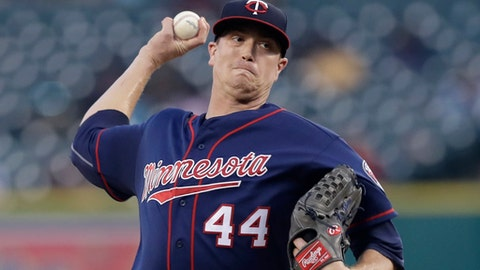 FILE - In this Sept. 22, 2017, file photo, Minnesota Twins starting pitcher Kyle Gibson throws during the first inning of a baseball game against the Detroit Tigers, in Detroit. Gibson went to arbitration and asked Robert Herzog, Elizabeth Neumeier and Gary Kendellen for $4.55 million, $250,000 more than the Twins offer. The 30-year-old right-hander was 12-10 with a 5.07 ERA last year, when he earned $2.9 million.(AP Photo/Carlos Osorio)
