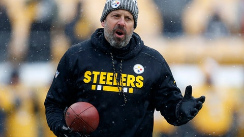 FILE - This Dec. 31, 2017 file photo shows Pittsburgh Steelers offensive coordinator Todd Haley watching warm ups before an NFL football game against the Cleveland Browns in Pittsburgh. After six successful seasons guiding one of the NFLs most high-powered offenses in Pittsburgh, Haley is starting anew in Cleveland with the winless Browns, a team he once reviled but has always respected. (AP Photo/Keith Srakocic, file)