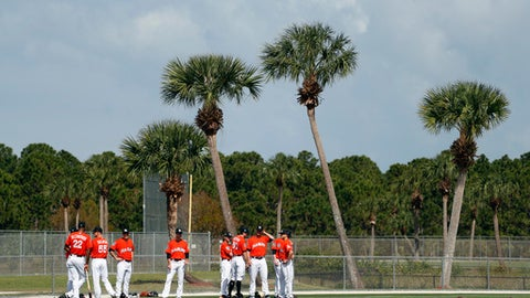 Members of the Miami Marlins pause before stretching during spring training baseball practice Wednesday, Feb. 14, 2018, in Jupiter, Fla. (AP Photo/Jeff Roberson)