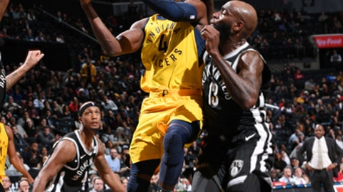 BROOKLYN, NY - FEBRUARY 14: Victor Oladipo #4 of the Indiana Pacers shoots the ball during the game against the Brooklyn Nets on February 14, 2018 at Barclays Center in Brooklyn, New York. (Photo by Matteo Marchi/NBAE via Getty Images)