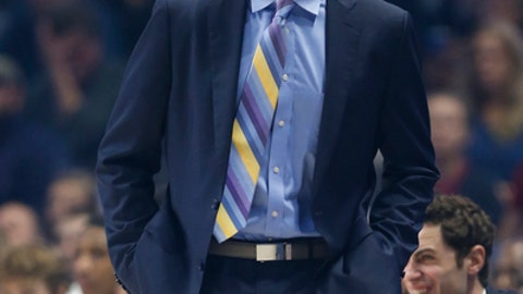Xavier coach Chris Mack shouts instructions during the first half of the team's NCAA college basketball game against Seton Hall, Wednesday Feb. 14, 2018, in Cincinnati. (AP Photo/Gary Landers)