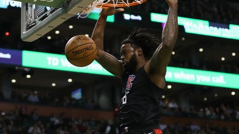 BOSTON, MA - FEBRUARY 14:  DeAndre Jordan #6 of the LA Clippers dunks during the first quarter of the game against the Boston Celtics at TD Garden on February 14, 2018 in Boston, Massachusetts. (Photo by Omar Rawlings/Getty Images)