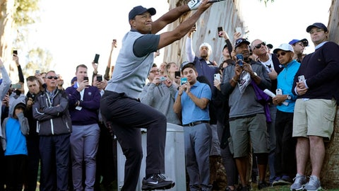 Tiger Woods, with the gallery looking on, twists as he watches his approach shot from the rough on the 12th hole during the first round of the Genesis Open golf tournament at Riviera Country Club Thursday, Feb. 15, 2018, in the Pacific Palisades area of Los Angeles. (AP Photo/Ryan Kang)