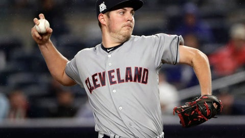 Cleveland Indians pitcher Trevor Bauer delivers against the New York Yankees during the first inning in Game 4 of baseball's American League Division Series, Monday, Oct. 9, 2017, in New York. (AP Photo/Frank Franklin II)